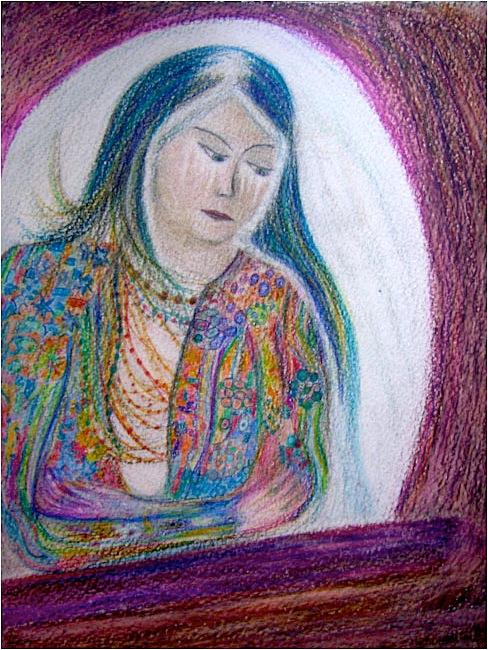 Vierge à la fenêtre. Crayon aquarelle sur papier, 21x30, 2011