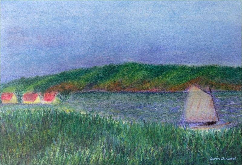 Voile sur le lac de Zürich. Pastel sec sur papier, 21x15, 2013