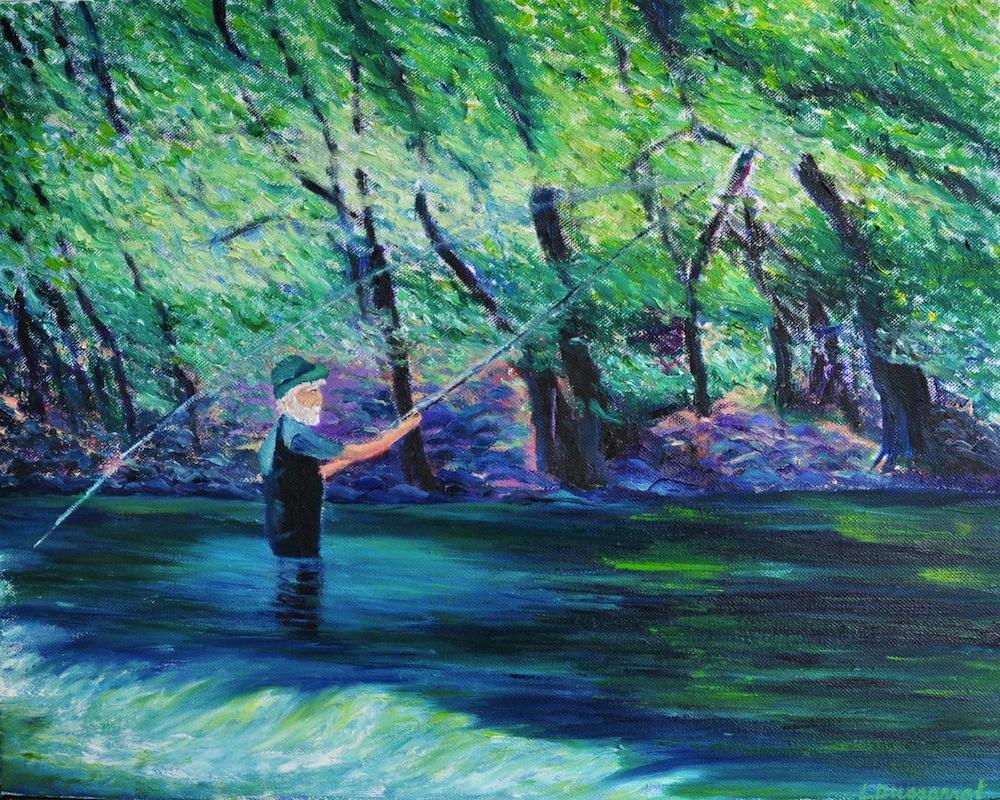 Le pêcheur dans le Célé. Huile sur toile, 40x50, 2014
