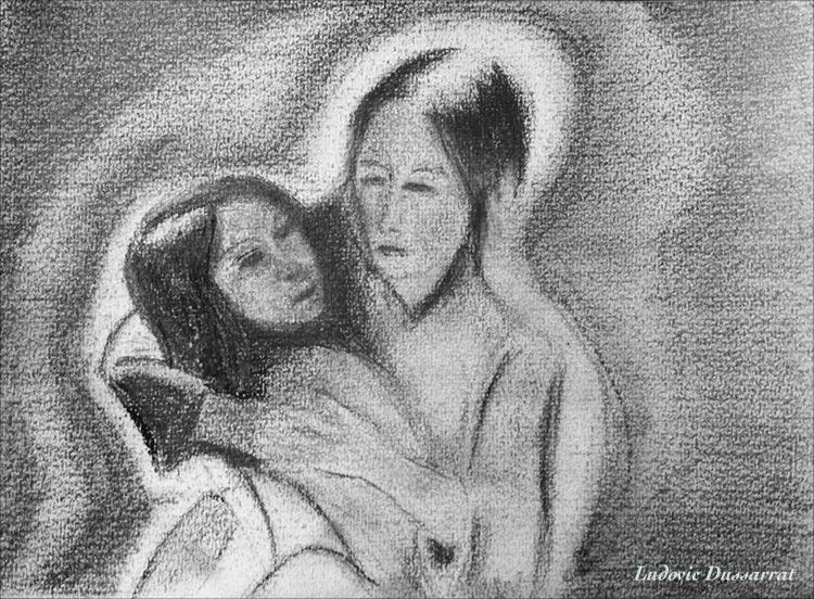 Femme avec enfant. Crayon sur papier, 12x21, 2012 (source: Van Gogh)