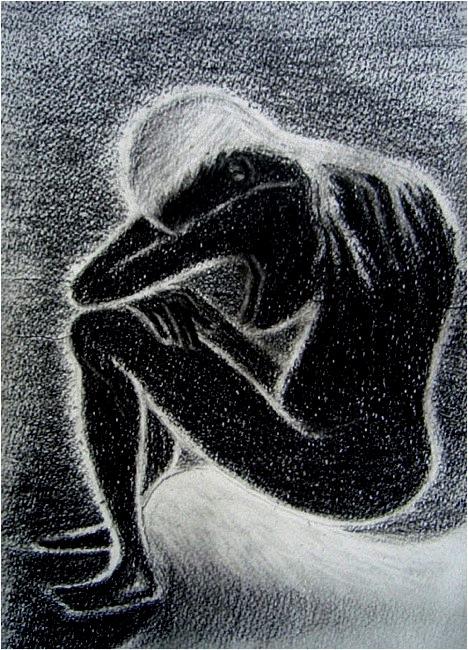 Chagrin. Fusain sur papier, 21x30, 2012 (source: Van Gogh)