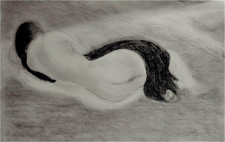 Femme tournée vers le soleil. Crayon sur papier, 21x30, 2012