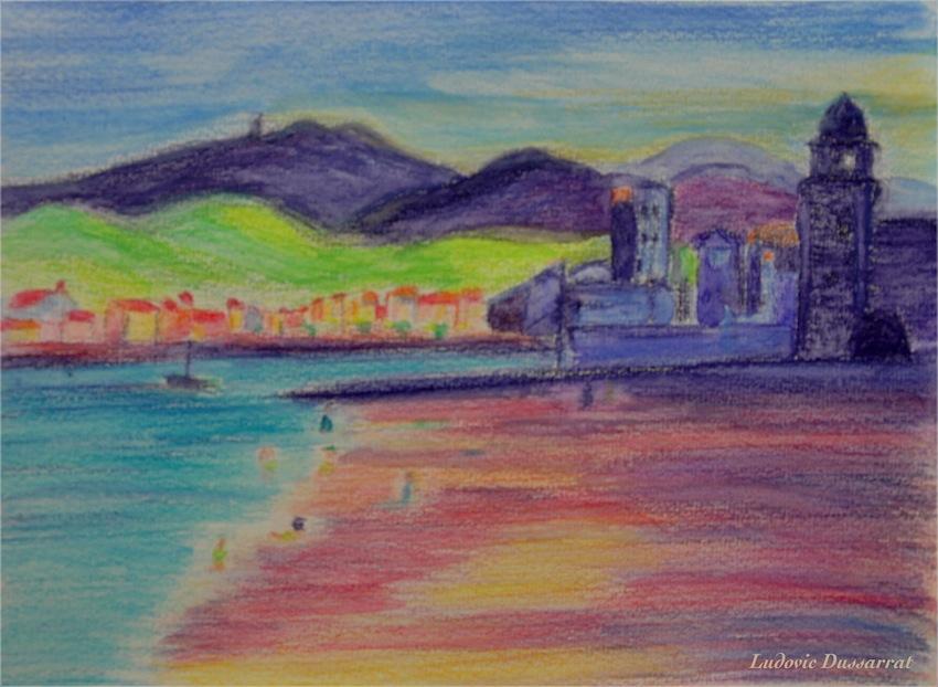 Collioure, plage St Vincent. Crayon aquarellable sur papier, 15x21, 2014
