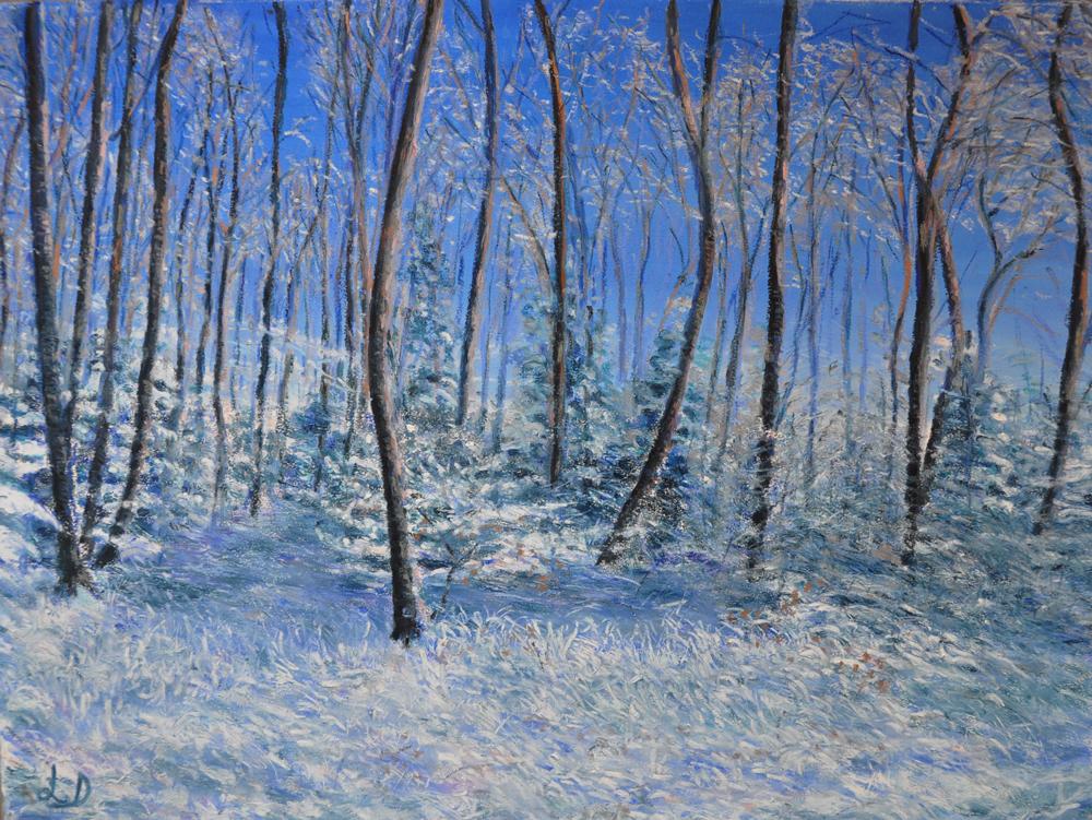 Forêt, Cossonay, no. 5. Pastel à l'huile sur papier, 60x75, 2016