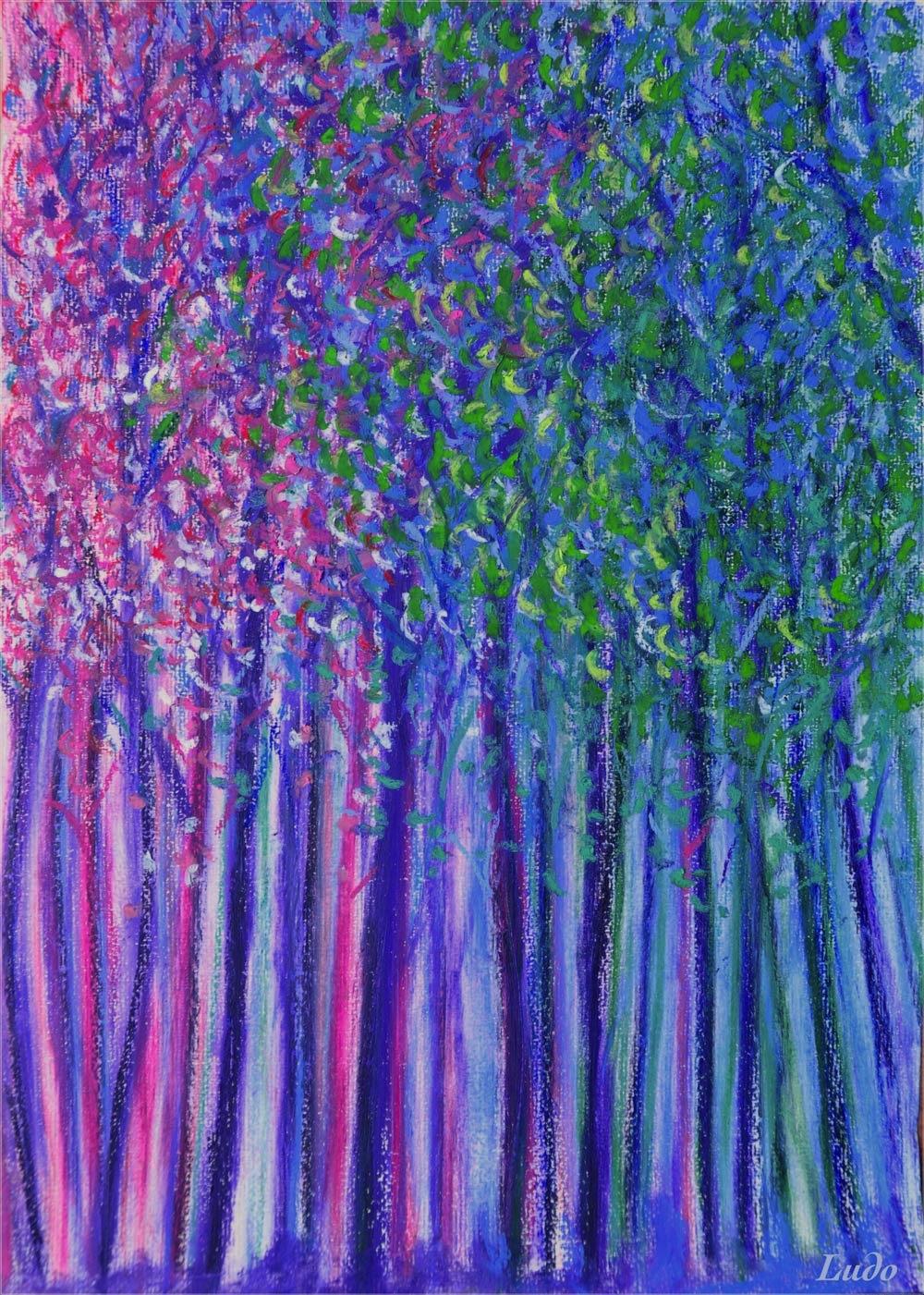 Forêt, Lahonce, no. 7. Pastel à l'huile sur papier, 42x30, 2015