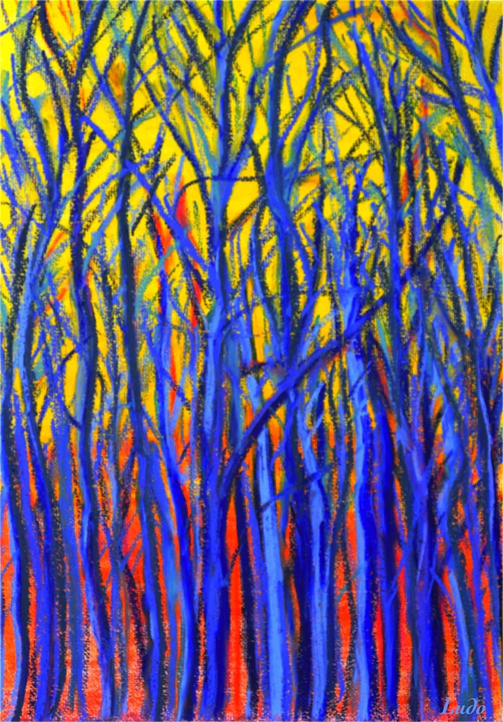 Forêt, Lahonce, no. 5. Pastel à l'huile sur papier, 42x30, 2015