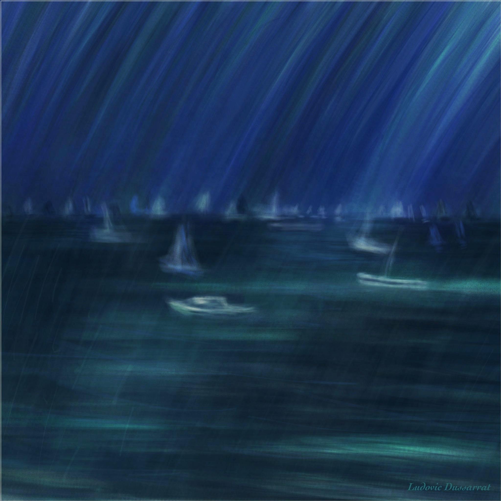 Averses sur le Bassin. Peinture digitale, 72x72, 2015