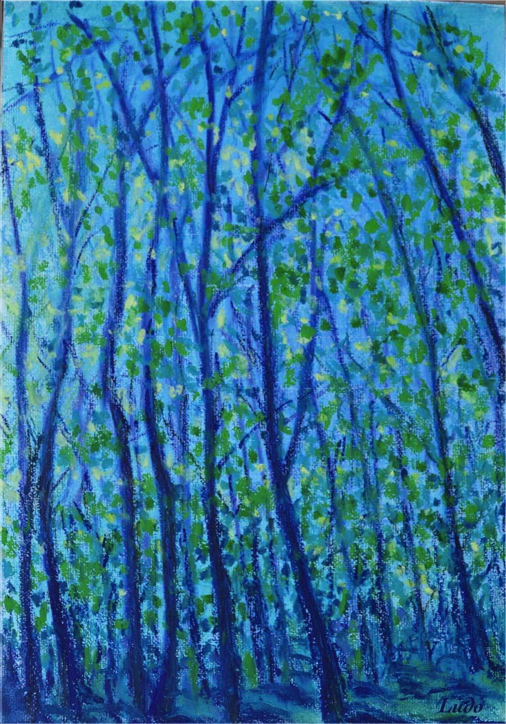 Forêt, Lahonce, no. 2. Pastel à l'huile sur papier, 42x30, 2015