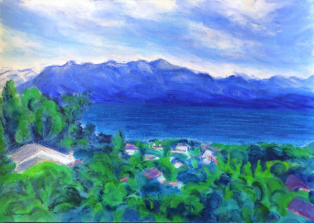 Lac Léman, depuis Chailly, no. 2. Pastel à l'huile sur papier, 29x42, 2015