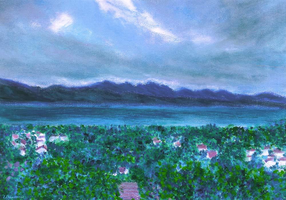 Lac Léman, depuis Chailly. Pastel à l'huile sur papier, 29x42, 2015