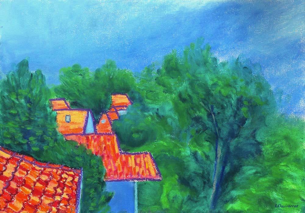 Toits de Chailly no. 3.  Pastel à l'huile sur papier, 29x42, 2015