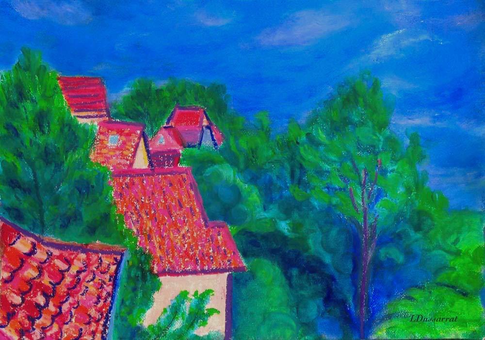 Toits de Chailly no. 1. Pastel à l'huile sur papier, 29x42, 2015