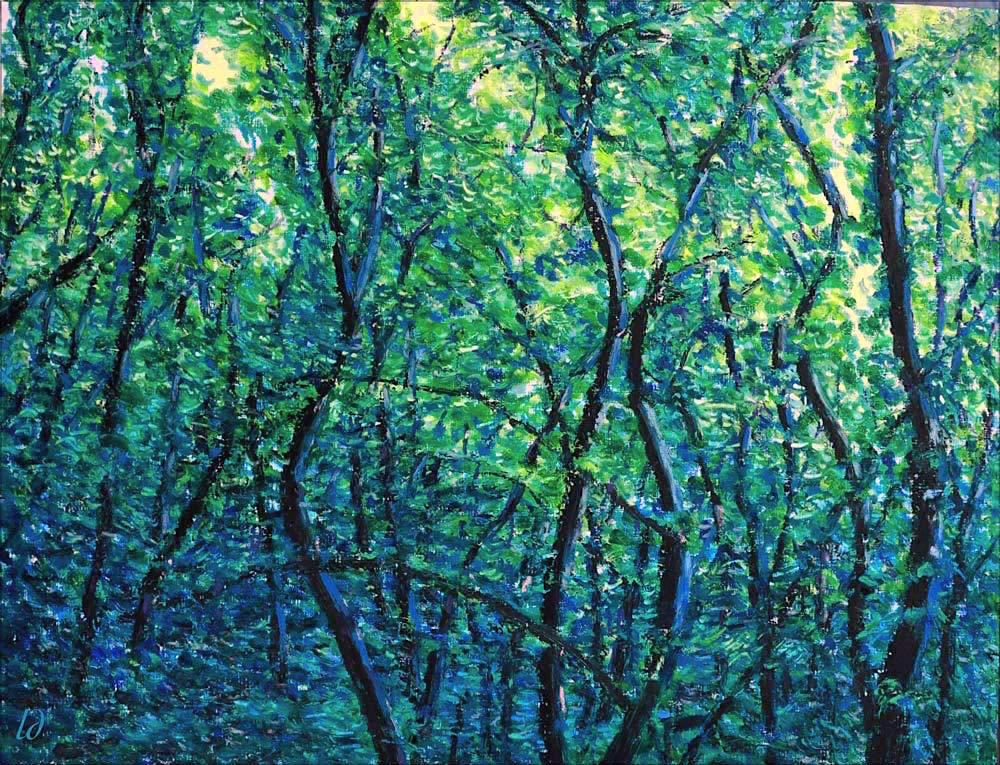 Forêt, Lahonce, no.10. Pastel à l'huile sur papier, 65x50, 2015