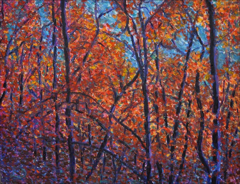 Forêt, Lahonce, no. 9. Pastel à l'huile sur papier,  65x50, 2015