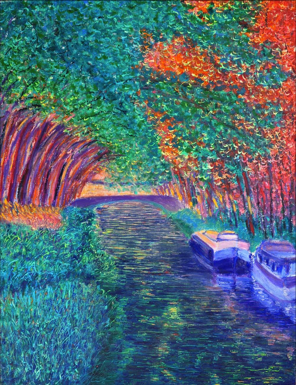 Le soir sur le canal. Pastel à l'huile sur papier, 50x65, 2015