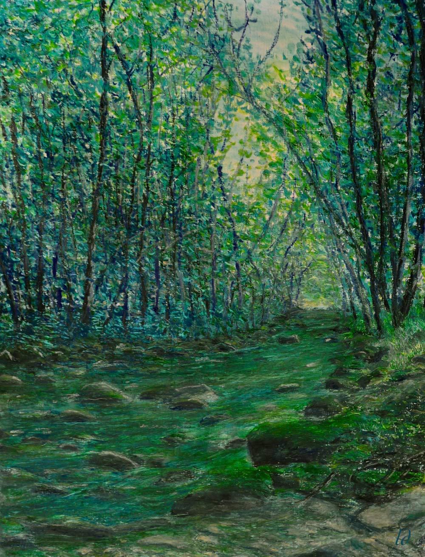 L' Allondon en Mai. Pastel à l'huile sur papier, 50x65, 2015