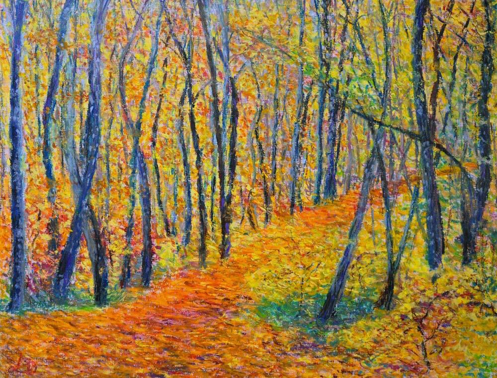 Forêt, la Lignière. Pastel à l'huile sur papier, 50x65, 2015