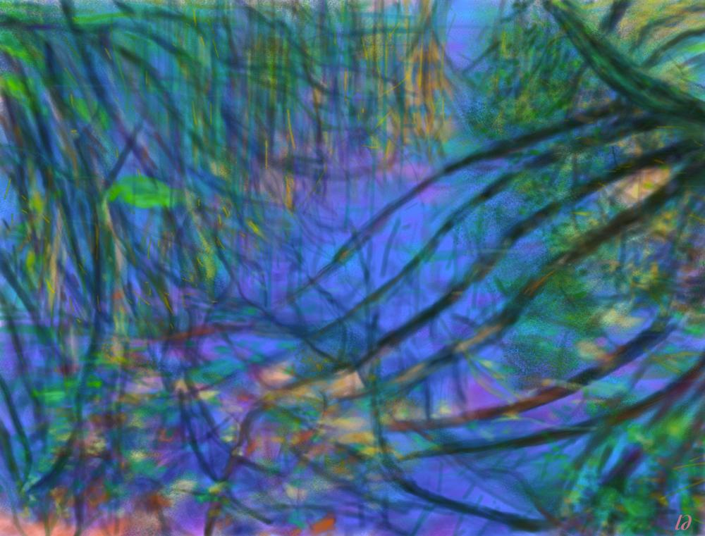 Reflets dans le marais. Peinture digitale, 54x71, 2016