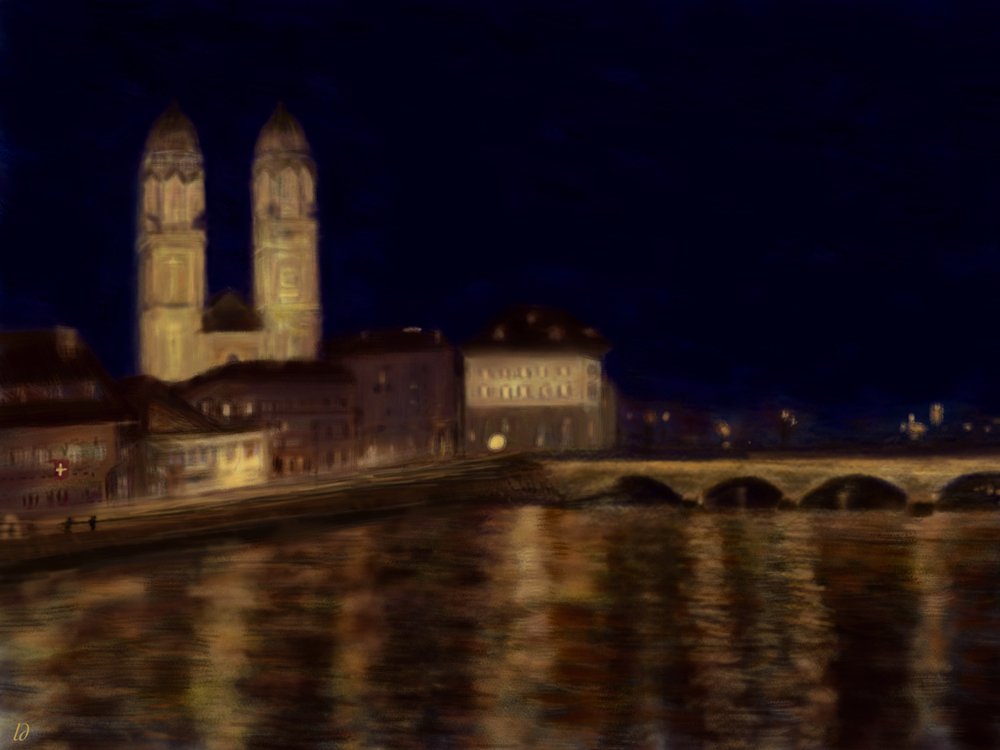 Zürich at night, Grossmünster. Digital painting, 53x71, 2017