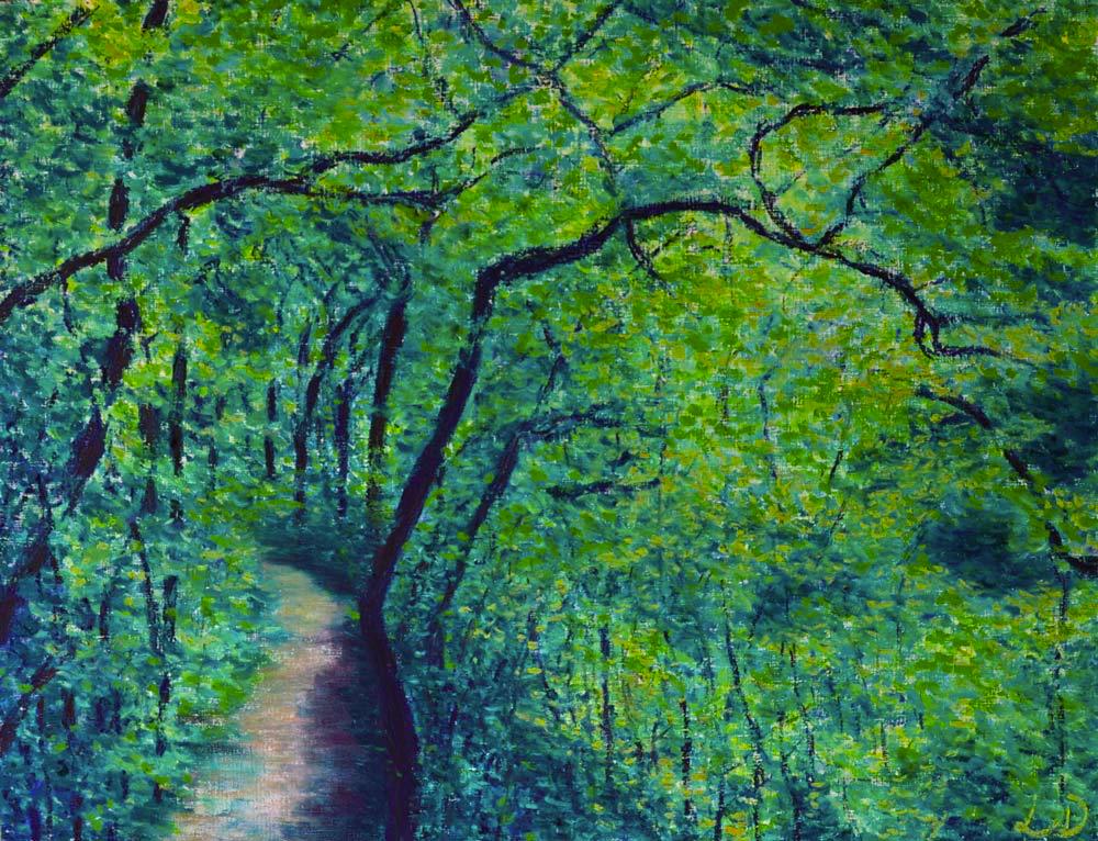 Forêt, l'Allondon. Huile sur papier, 50x65, 2015