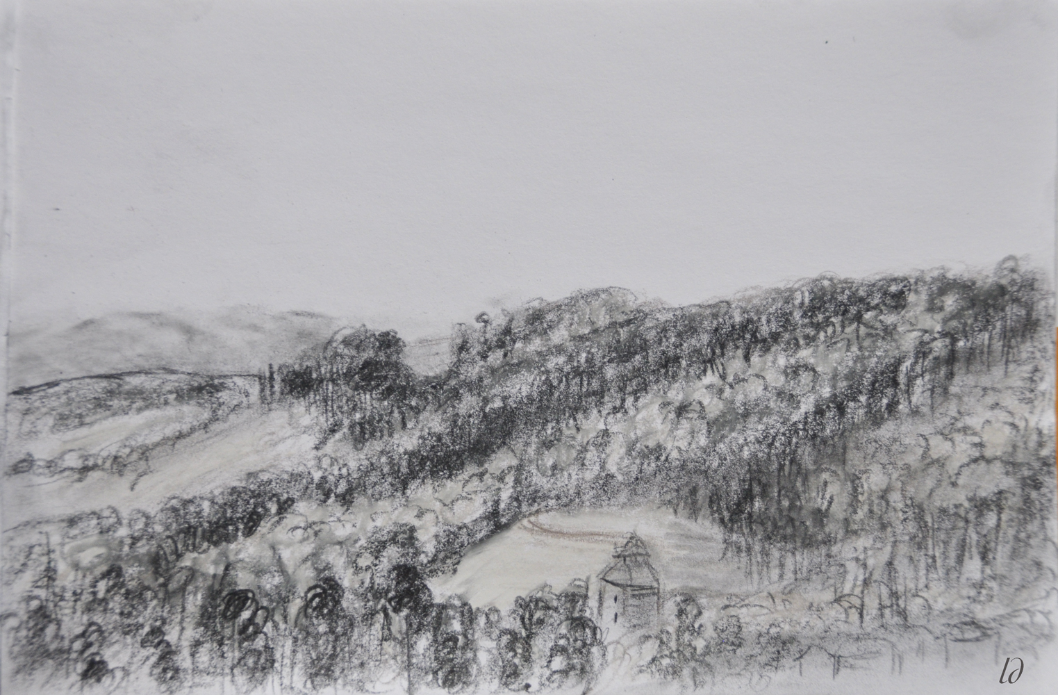 Hill, Penthalaz. Crayon on paper, 16x24, 2017