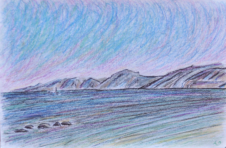 Cala Gonone no. 4. Crayon et craie à la cire sur papier, 12x17, 2017