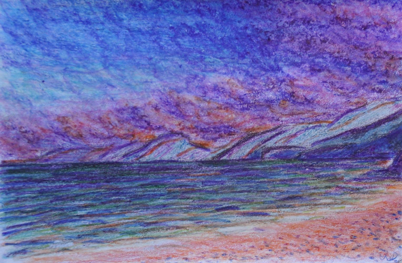 Cala Gonone no. 7. Crayon et craie à la cire sur papier, 12x17, 2017