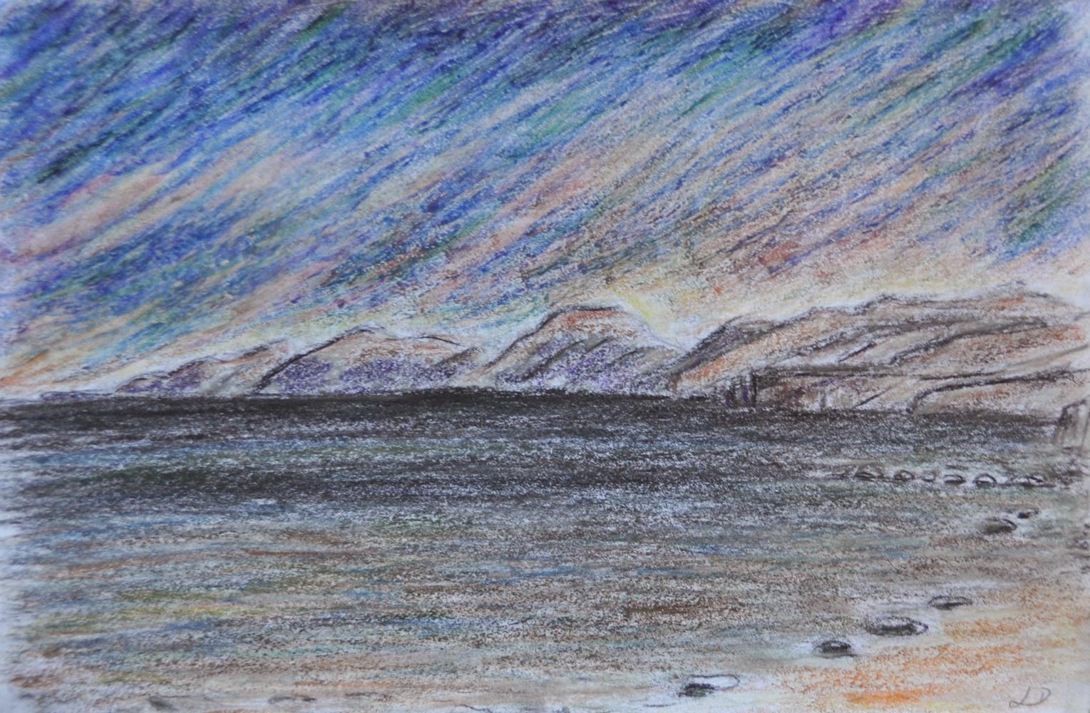 Cala Gonone no. 6. Crayon et craie à la cire sur papier, 12x17, 2017