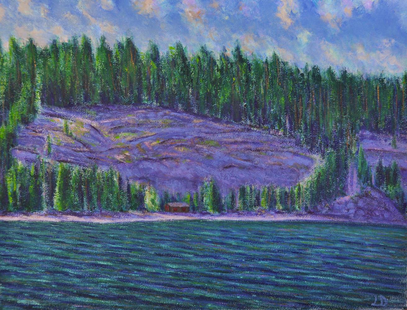 Lac de Joux, la cabane. Huile sur papier, 56x76, 2017