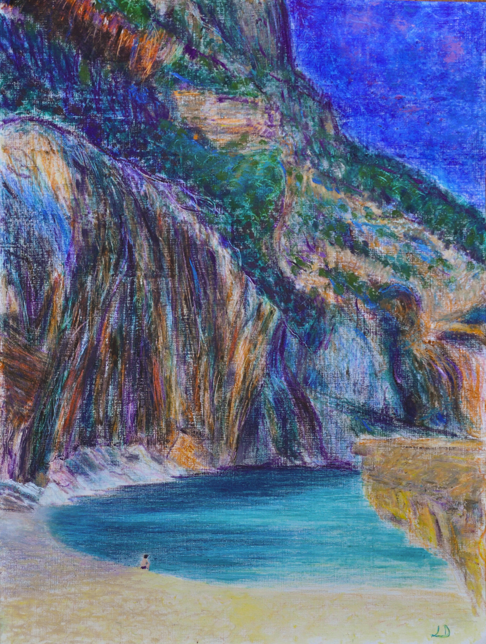 Cala Mariolu no.3, Sardaigne. Mixed media sur papier, 56x42, 2017