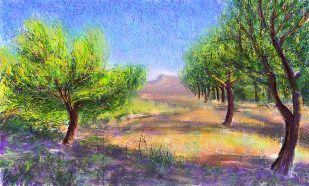 Les calanques les pins, Cassis. Peinture digitale, 39x65, 2017