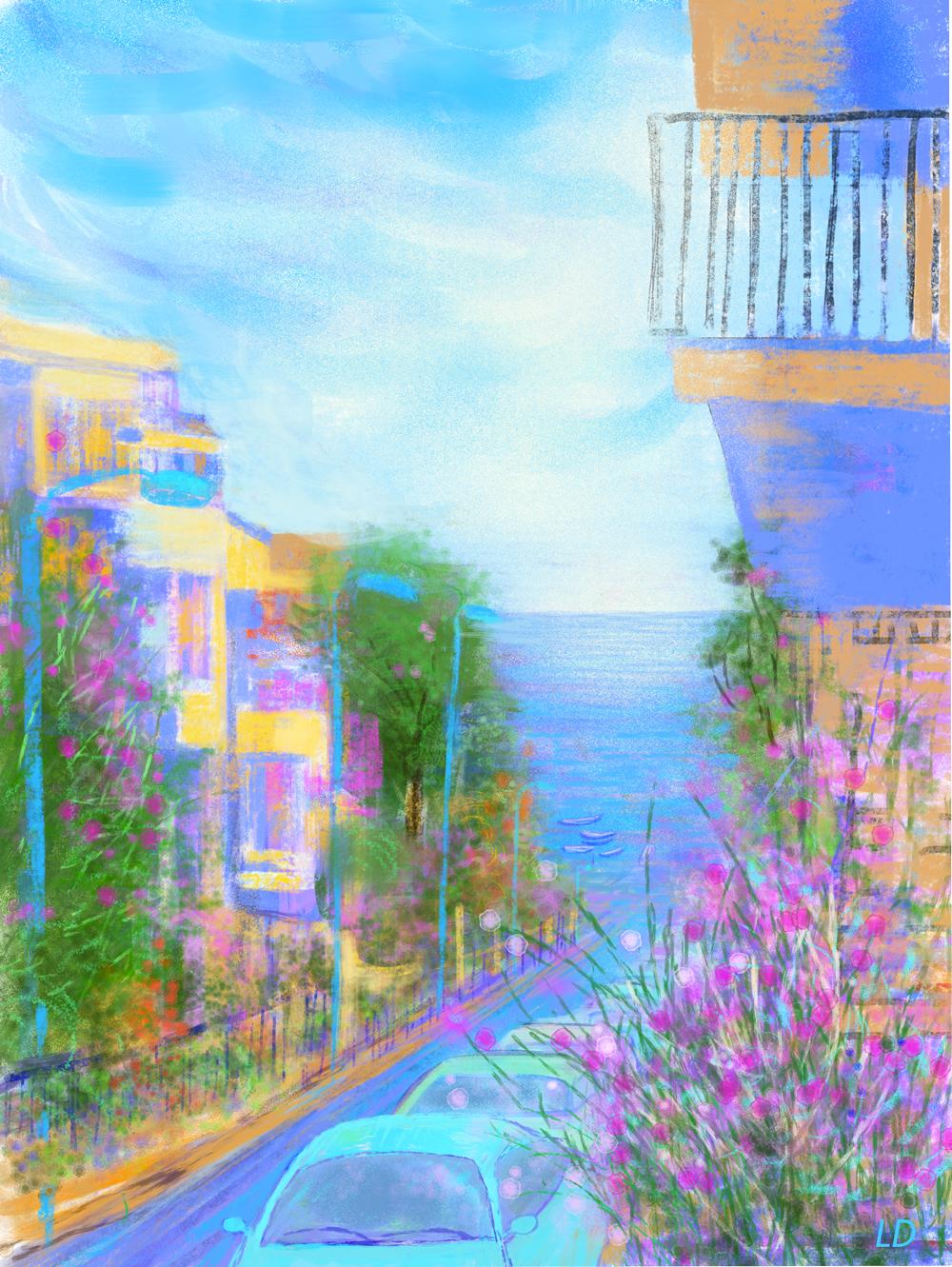 Via delle Conchiglie, Cala Gonone no. 1. Digital painting, 74x56, 2017