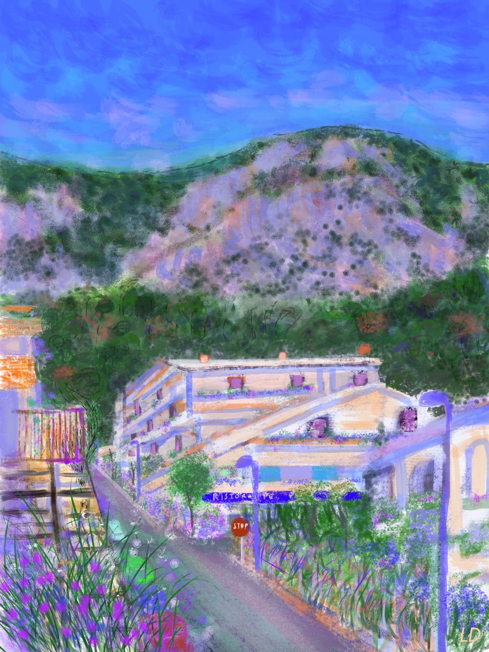 Via delle Conchiglie, Cala Gonone no. 2. Digital painting, 74x56, 2017