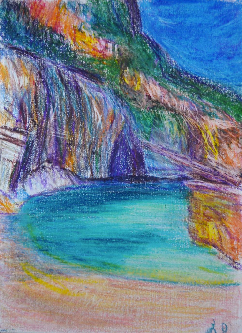 Cala Mariolu no. 2, Sardaigne. Crayons et craie à la cire sur papier , 21x15, 2017