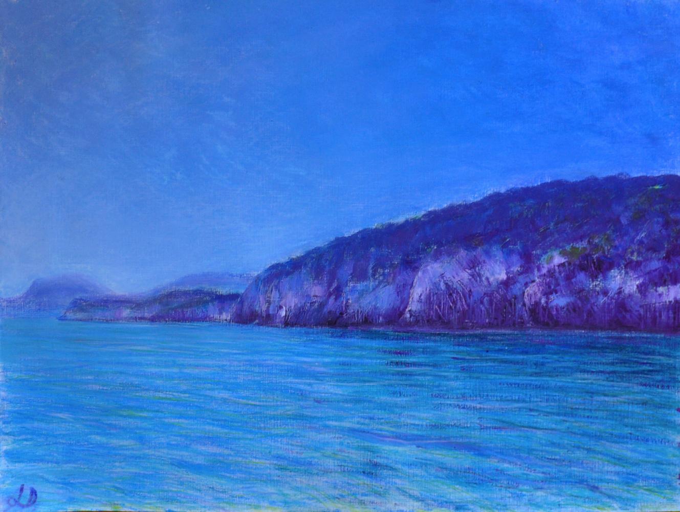Croissant bleu, Cala Gonone no 1. Mixed media sur papier, 42x56, 2017
