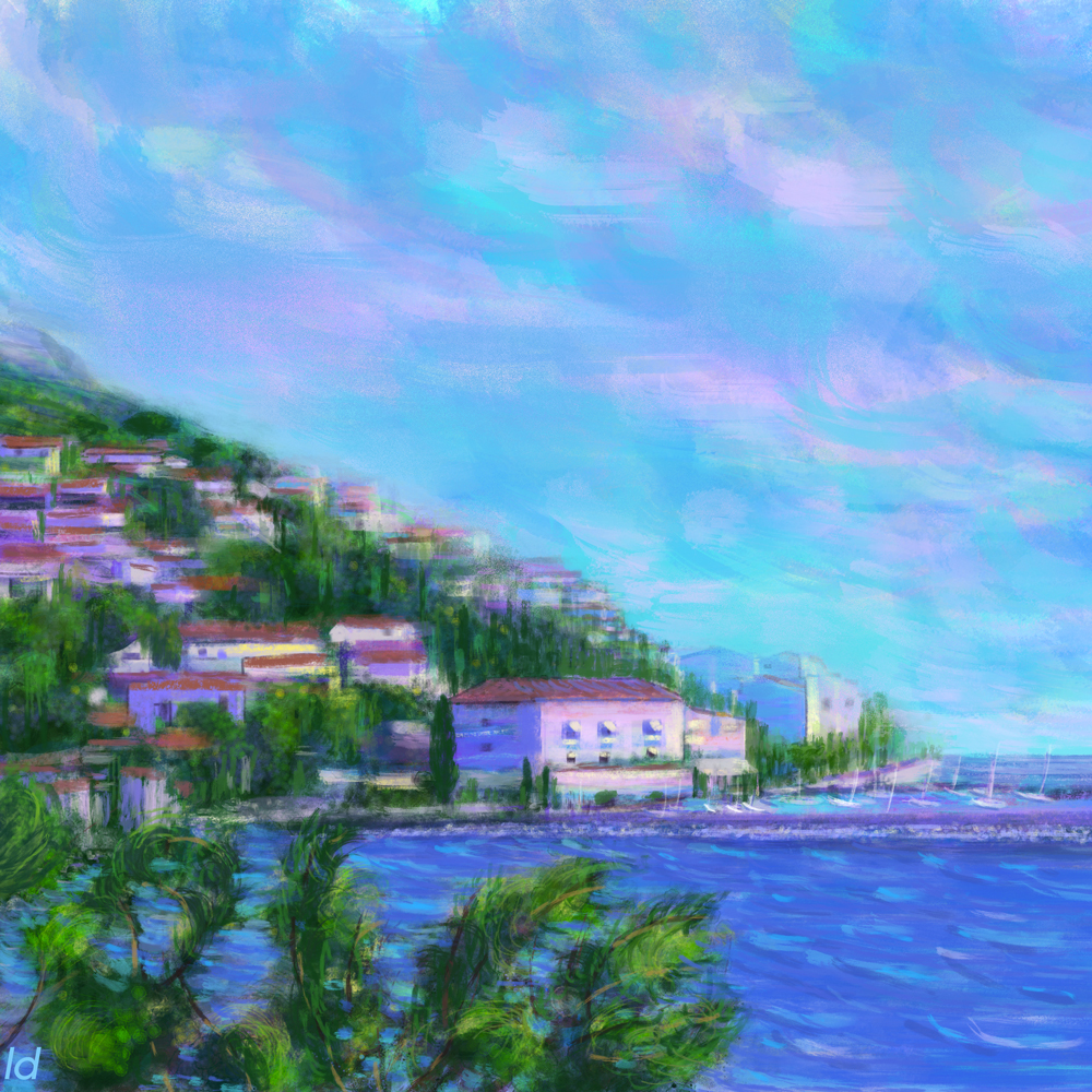 Cala Gonone, sunrise. Digital painting, 57x57, 2018