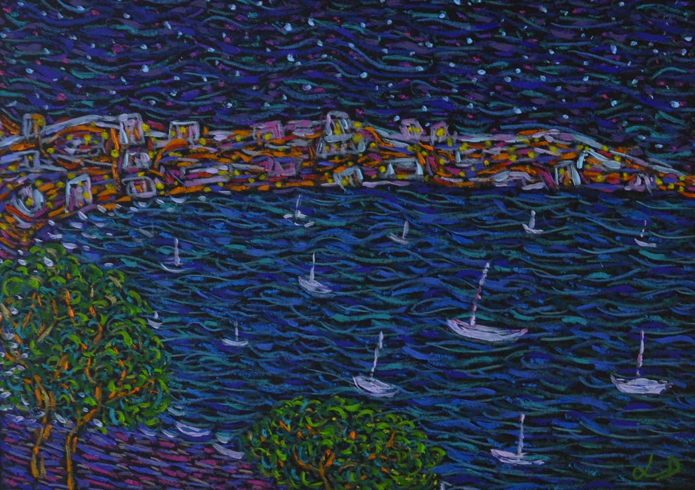 One night in Mallorca. Mixed media sur papier, 21x30, 2018.