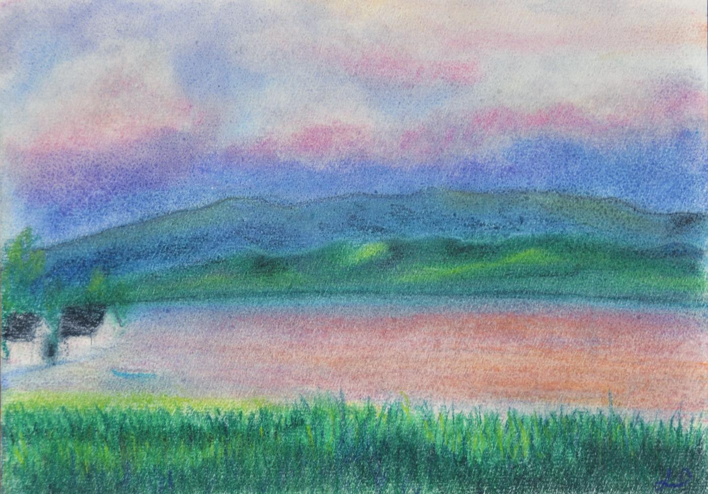 Lac de Zurich no.2. Pastel sec sur papier. 15x21, 2013