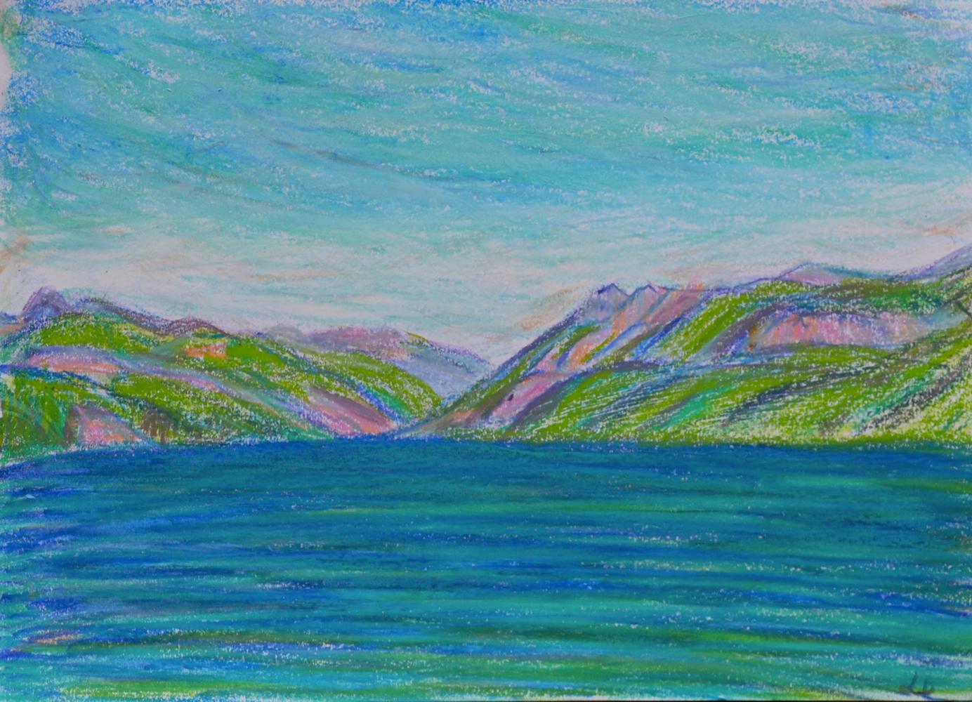 Lac Léman, St Prex no. 6. Pastel à la cire sur papier, 21x30, 2018