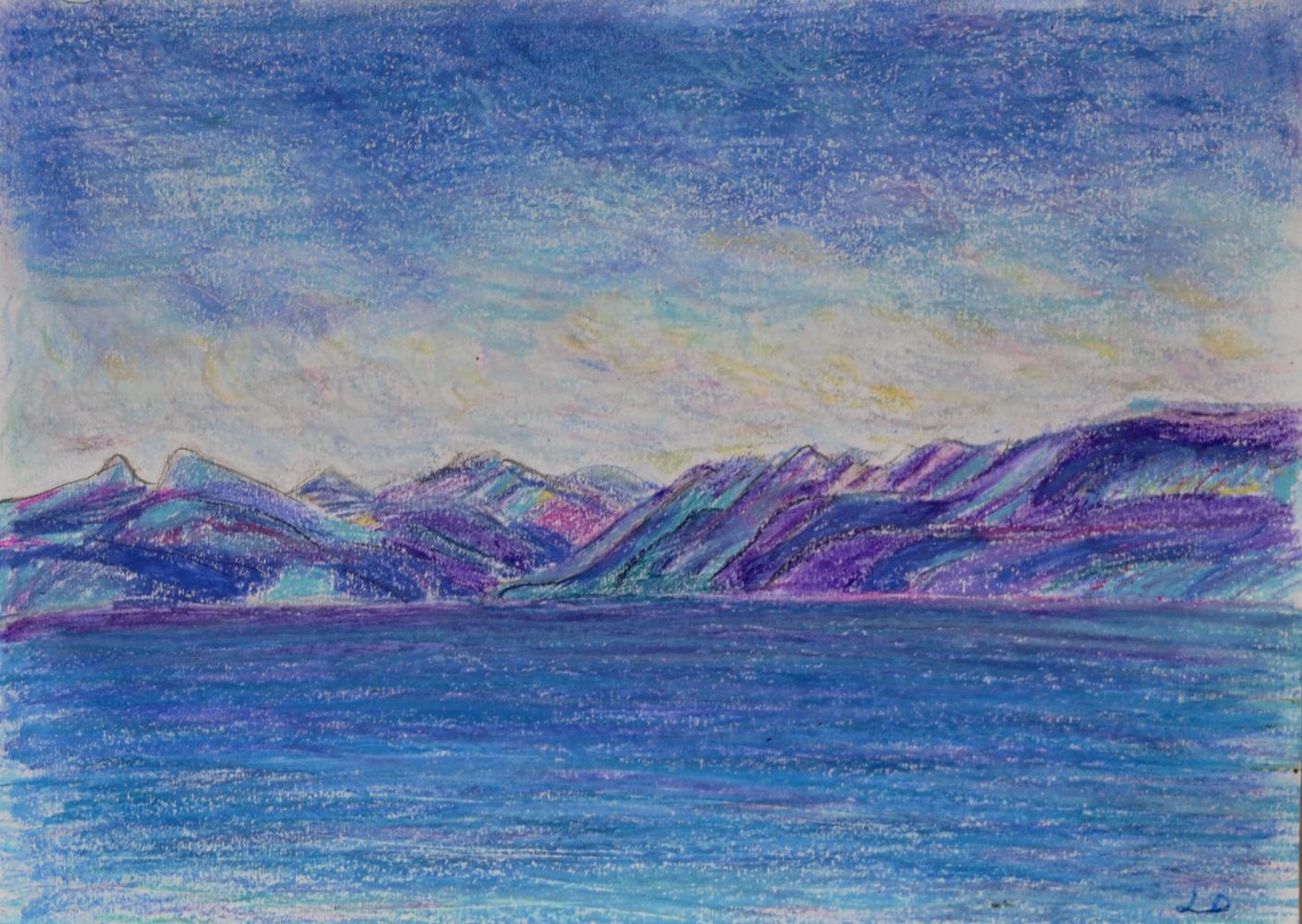 Lac Léman, St Prex no. 8. Pastel à la cire sur papier, 21x30, 2018