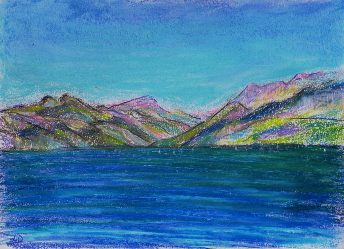 Lac Léman, St Prex no. 3. Pastel à la cire sur papier, 21x30, 2018