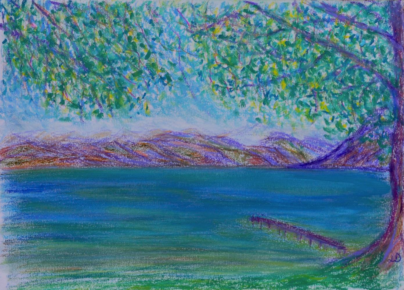 Lac Léman, St Prex no. 1. Pastel à la cire sur papier, 21x30, 2018