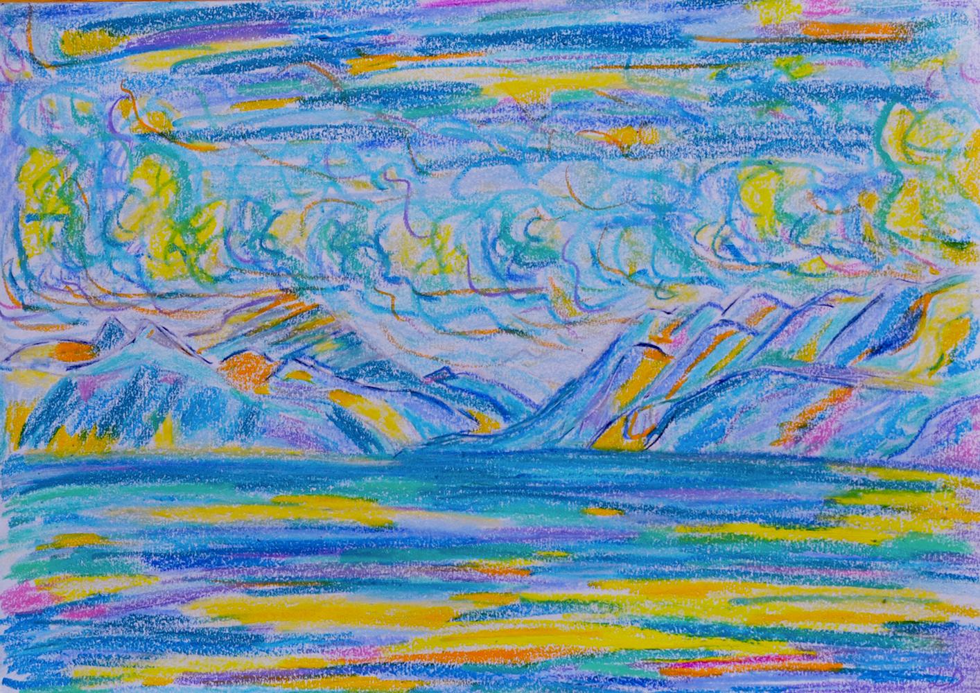 Lac Léman, St Prex no. 4. Pastel à la cire sur papier, 21x30, 2018