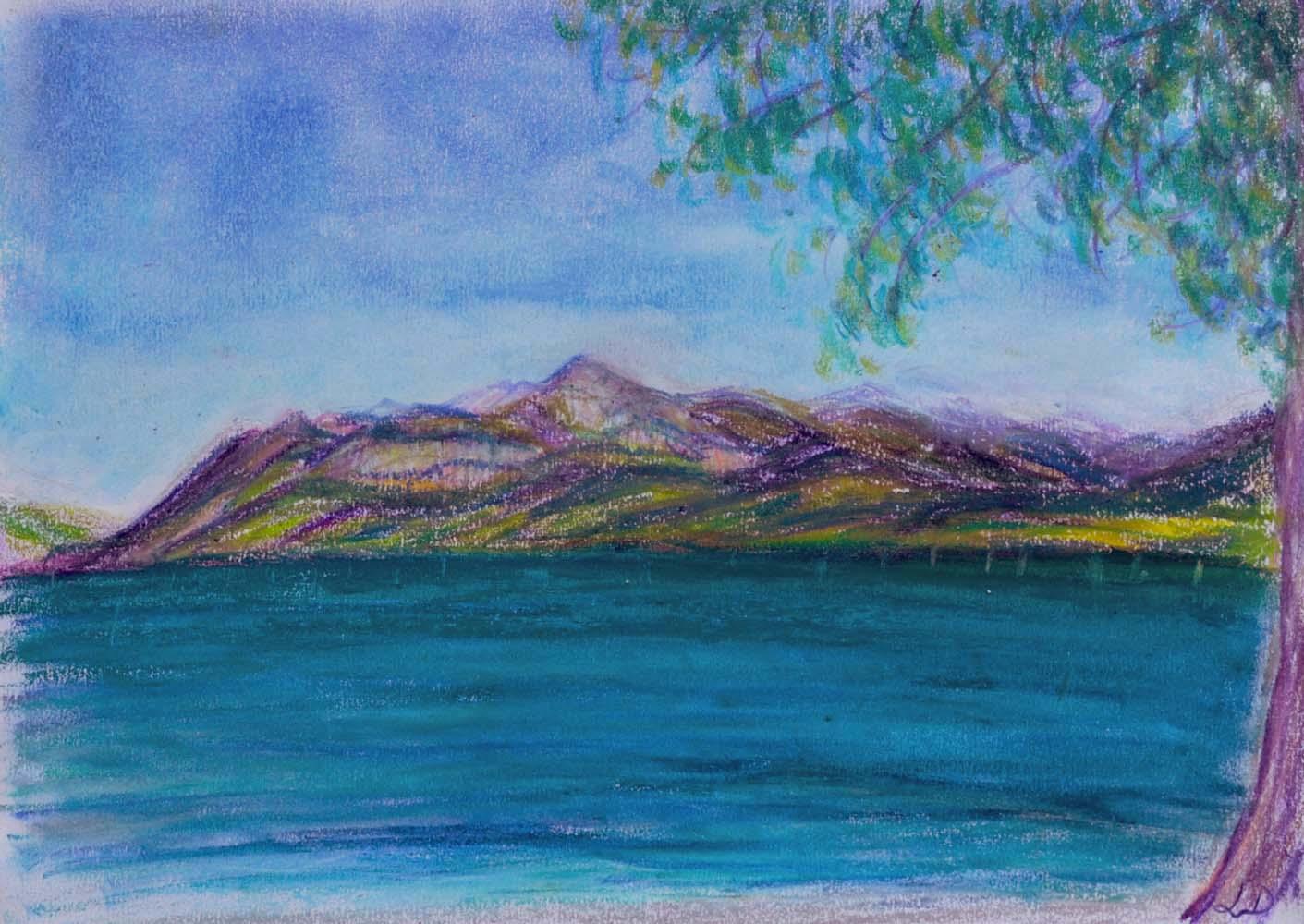 Lac Léman, St Prex no. 2. Pastel à la cire sur papier, 21x30, 2018