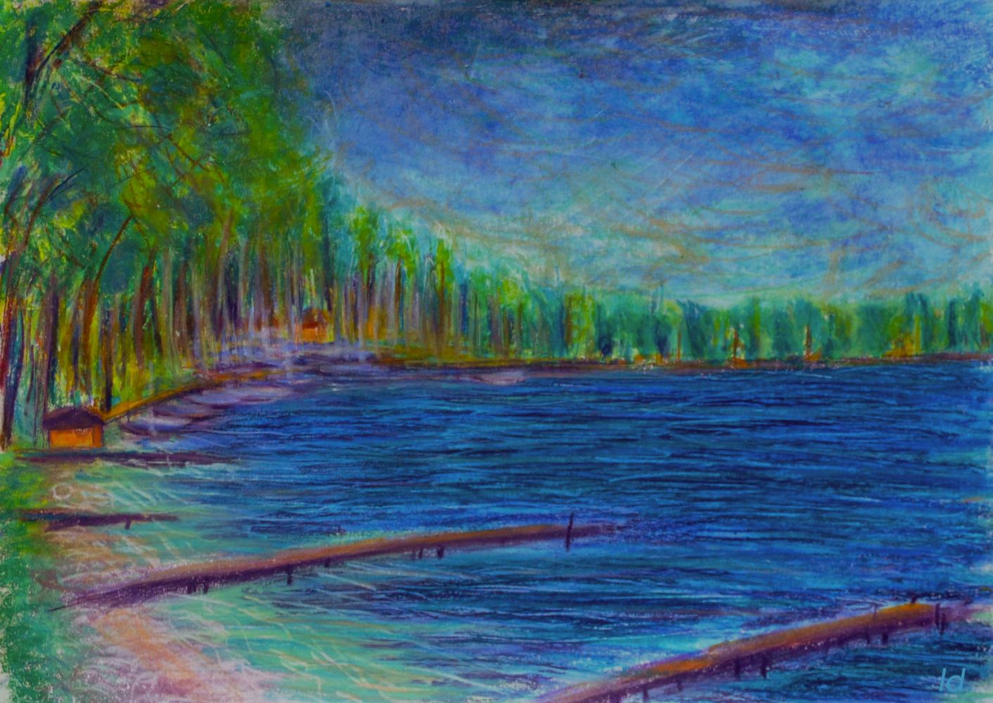 Lac Léman, St Prex no. 5. Pastel à la cire sur papier, 21x30, 2018