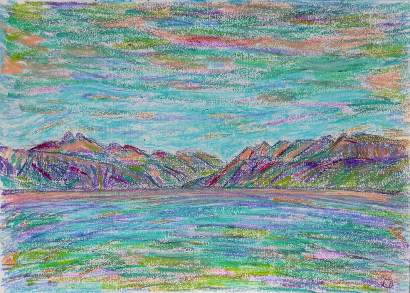 Lac Léman, St Prex no. 7. Pastel à la cire sur papier, 21x30, 2018
