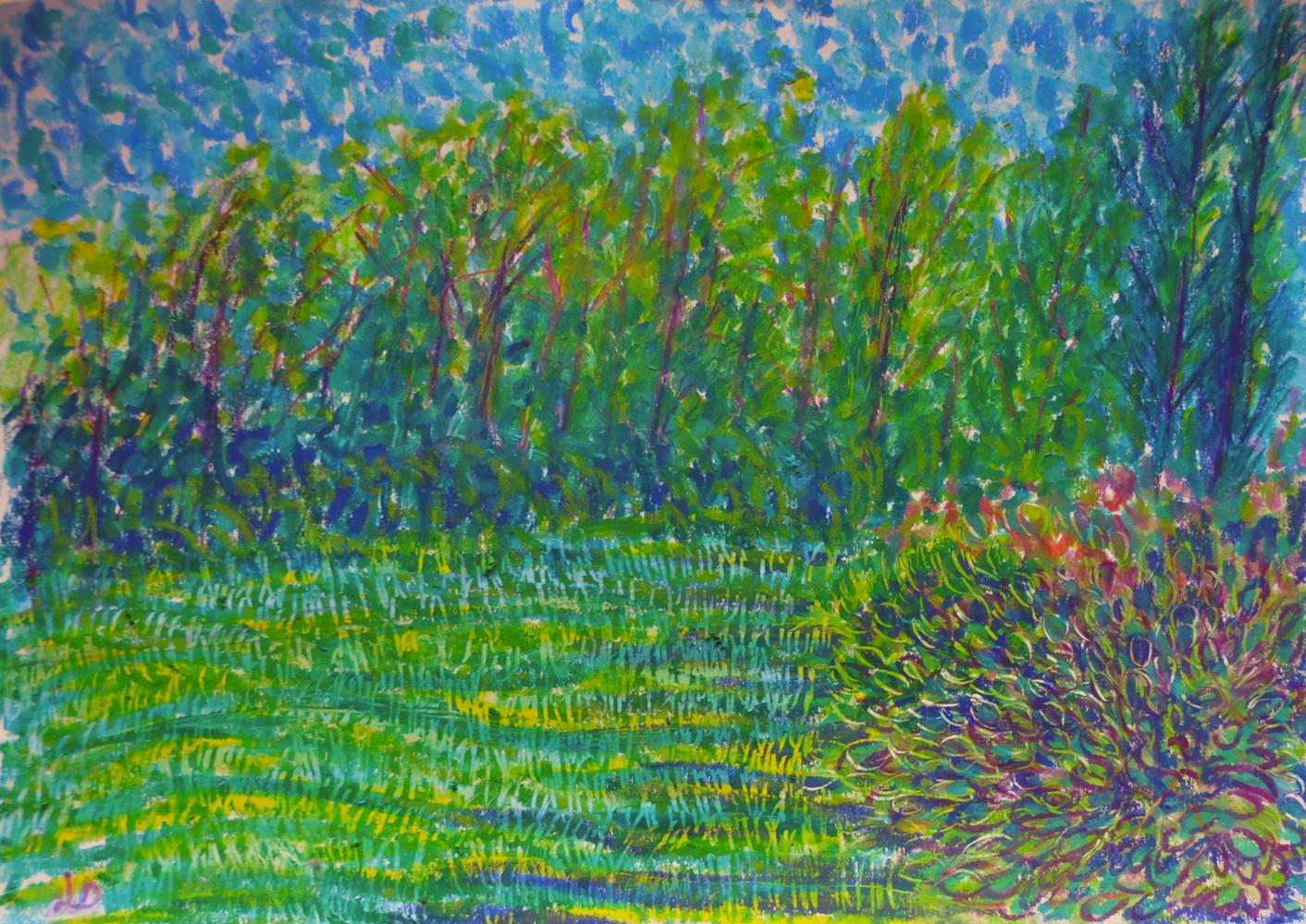 Le jardin, 3, Crest. Mixed media sur papier, 21x30, 2018