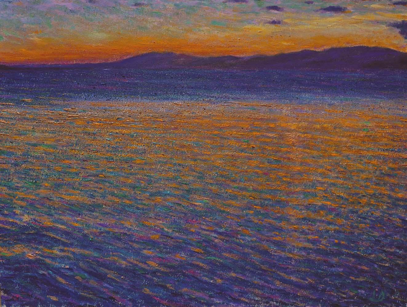 Lac Léman, depuis Lutry. Huile sur papier, 60x75, 2016