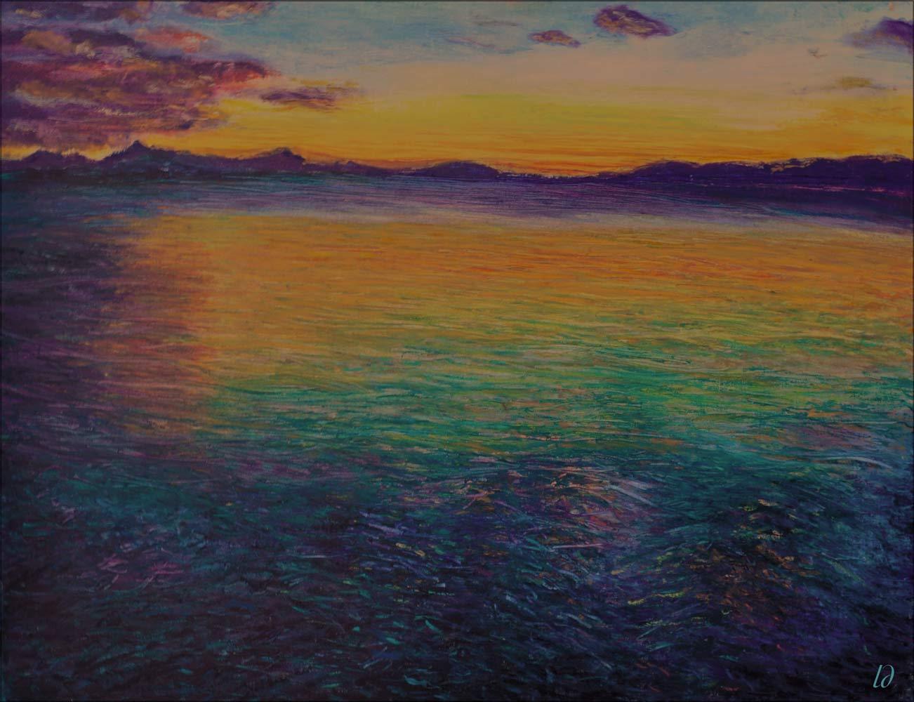 Coucher de soleil sur le lac Léman. Pastel à l'huile sur papier, 50x65, 2015