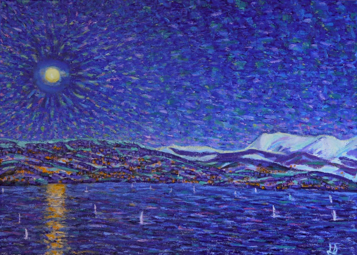 La arasélène au-dessus de Lausanne. huile sur toile. 50x70, 2018